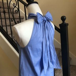 J. Crew Light Blue Cotton Bow Top 0
